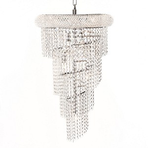 Spiral Design 8-Light 26'' Chrome or Gold Chandelier with European or Swarovski Crystals SKU# 10143