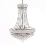 Bagel Design 14-Light 32'' Chrome or Gold Chandelier with European or Swarovski Crystals