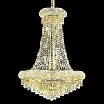 Bagel Design 14-Light 36'' Gold or Chrome Chandelier with European or Swarovski Crystals SKU# 10149
