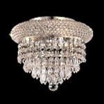 "Bagel Design 3 Light 10"" Chrome or Gold Round Ceiling Flush Mount with European or Swarovski Crystals SKU# 10154"
