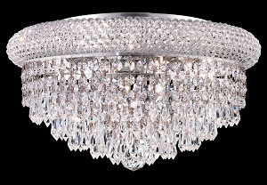 Bagel Design 8-Light 16'' Chrome or Gold Round Ceiling Flush Mount Dressed with European or Swarovski Crystals SKU# 10157
