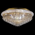 Bagel Design 15-Light 28'' Gold or Chrome Round Ceiling Flush Mount Dressed with European or Swarovski Crystals SKU# 10160