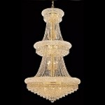 Bagel Design 32-Light 50'' Gold or Chrome Chandelier Dressed with European or Swarovski Crystals SKU# 10150