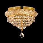 Bagel Design 4-Light 12'' Gold or Chrome Ceiling Flush Mount Dressed with European or Swarovski Crystals SKU# 10177