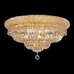 Bagel Design 12-Light 24'' Gold or Chrome Ceiling Flush Mount Dressed with European or Swarovski Crystals SKU# 10181