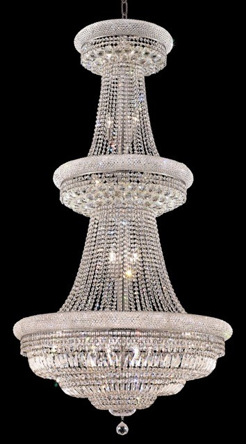 Bagel Design 32-Light 70'' Chrome or Gold Chandelier with European or Swarovski Crystals SKU# 10173