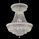 Bagel Design 28-Light 45'' Chrome or Gold Chandelier Dressed with European or Swarovski Crystals SKU# 10174