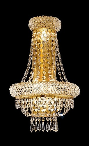 Bagel Design 4-Light 18'' Gold or Chrome Wall Sconce Dressed with European or Swarovski Crystals SKU# 10187