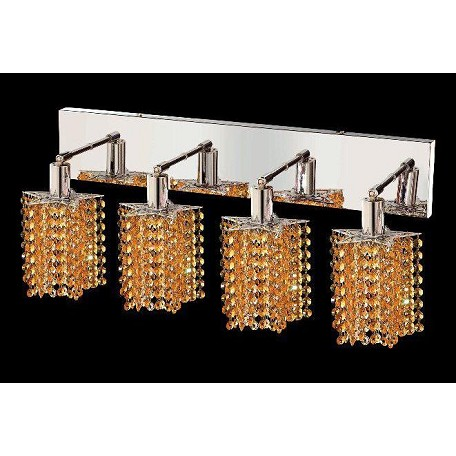 "Mini Collection 4-Light 26"" Chrome Wall Sconce with Light Topaz Yellow Royal Cut Crystal 1284W-O-P-LT/RC"