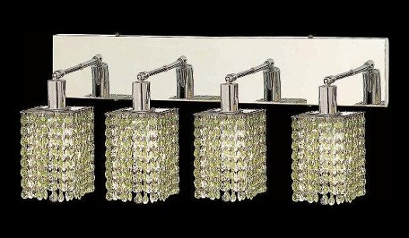 "Mini Collection 4-Light 26"" Chrome Wall Sconce with Peridot Light Green Royal Cut Crystal 1284W-O-S-LP/RC"