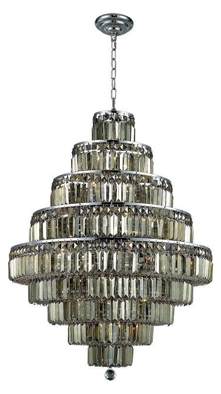 "Maxim Collection 20-Light 30"" Chrome Chandelier with Golden Teak Smoky Royal Cut Crystal 2038D30C-GT/RC"