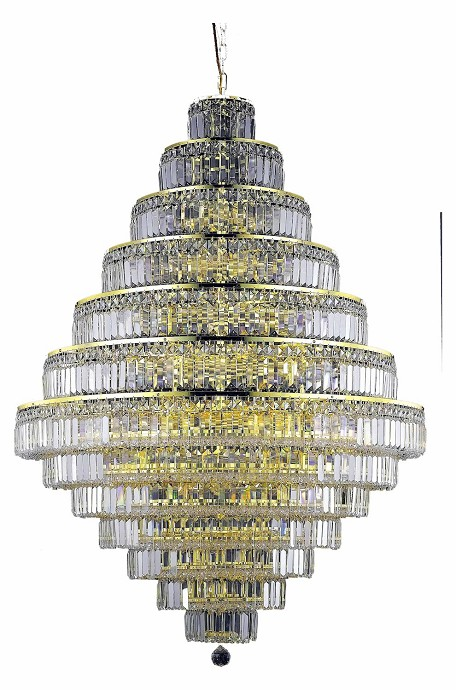 Elegant Lighting 2038G42G/Rc Royal Cut Clear Crystal Maxim 38-Light, Thirteen-Tier Crystal Chandelier, Finished In Gold With Clear Crystals