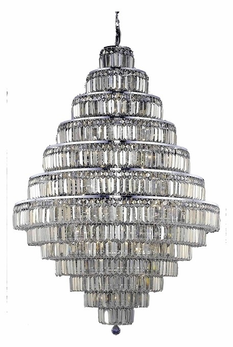 Royal Cut Smoky Golden Teak Crystal Maxim 38-Light, Thirteen-Tier Crystal Chandelier, Finished in Chrome with Smoky Golden Teak Crystals