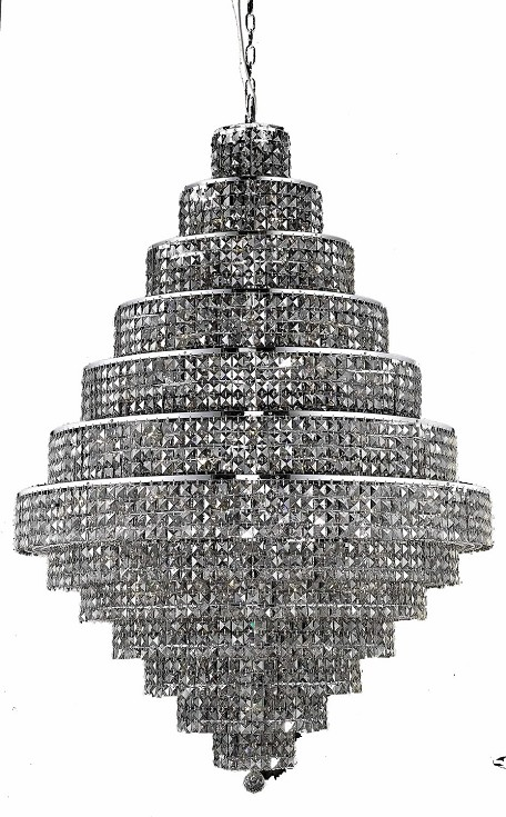 Royal Cut Grey Silver Shade Crystal Maxim 38-Light, Thirteen-Tier Crystal Chandelier, Finished in Chrome with Grey Silver Shade Crystals