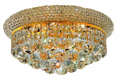 "Primo Collection 6-Light 14"" Gold Flush Mount with Clear Royal Cut Crystal 1800F14G/RC"