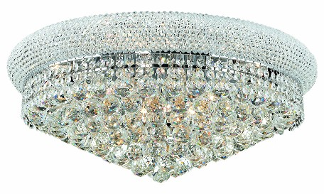 "Primo Collection 12-Light 24"" Chrome Flush Mount with Clear Royal Cut Crystal 1800F24C/RC"