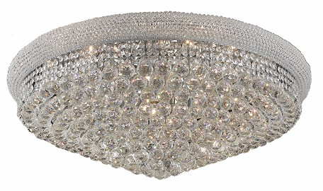 "Primo Collection 20-Light 36"" Chrome Flush Mount with Clear Royal Cut Crystal 1800F36C/RC"