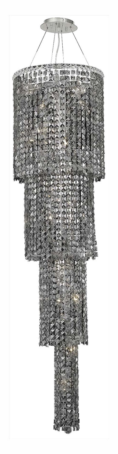 Royal Cut Grey Silver Shade Crystal Maxim 18-Light, Four-Tier Crystal Chandelier, Finished in Chrome with Grey Silver Shade Crystals