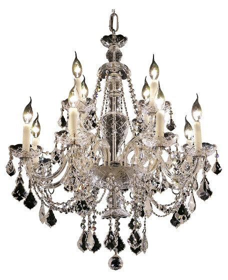 "Alexandria Collection 12-Light 28"" Chrome Chandelier with Clear Royal Cut Crystal 7831D28C/RC"