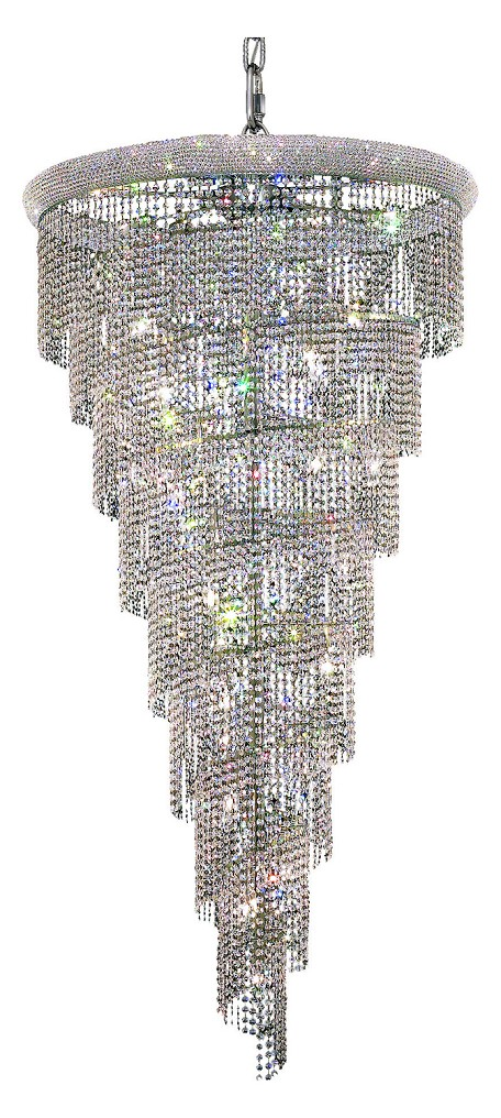 Elegant Lighting 1801Sr36C/Rc Royal Cut Clear Crystal Spiral 26-Light, Seven-Tier Crystal Chandelier, Finished In Chrome With Clear Crystals