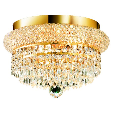 "Primo Collection 4-Light 12"" Gold Flush Mount with Clear Royal Cut Crystal 1802F12G/RC"