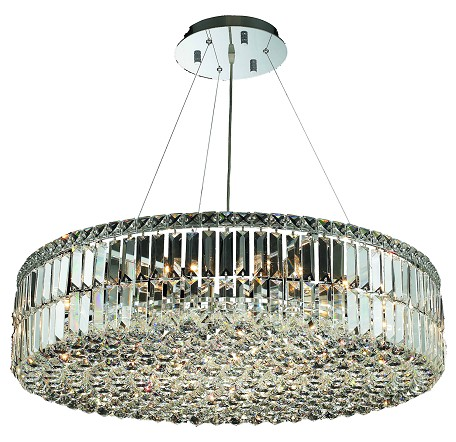 "Maxim Collection 18-Light 32"" Chrome Pendant with Clear Royal Cut Crystal 2030D32C/RC"