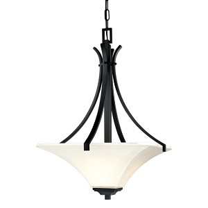 "Agilis Collection 3-Light 28"" Black Pendant with Lamina Blanca Glass 1817-66"