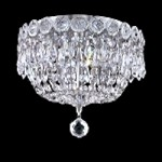 "Empire Design 3-Light 10"" Gold or Chrome Ceiling Flush Mount with European or Swarovski Spectra Crystal Strands  SKU# 10192"