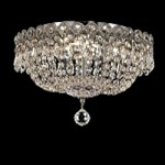 Empire Design 4-Light 12' Chrome or Gold Ceiling Flush Mount with European or Swarovski Spectra Crystal Strands  SKU# 10194