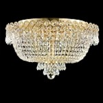 Empire Design 6-Light 18'' Chrome or Gold Ceiling Flush Mount with European or Swarovski Spectra Crystal Strands  SKU# 10196