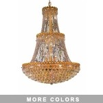 Empire Design 17-Light 48'' Chrome or Gold Chandelier with European or Swarovski Crystals SKU# 10203