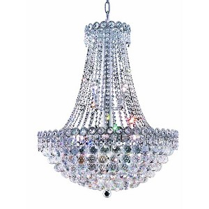 Empire Design 12-Light 30'' Gold or Chrome Chandelier with with European or Swarovski Crystals SKU# 10202