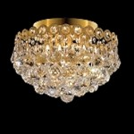 Empire Design 4-Light 12'' Gold or Chrome Ceiling Flush Mount with European or Swarovski Crystals SKU# 10205