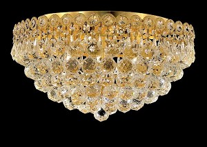 Empire Design 6-Light 18'' Chrome or Gold Ceiling Flush Mount with European or Swarovski Crystals SKU# 10208