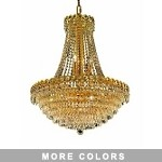 Empire Design 12-Light 30'' Gold or Chrome Chandelier with European or Swarovski Crystals SKU# 10202
