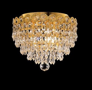 Empire Design 3-Light 10'' Gold or Chrome Ceiling Flush Mount with European or Swarovski Crystals SKU# 10214