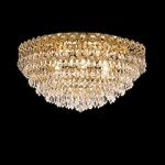 Empire Design 6 Light 18'' Gold or Chrome Ceiling Flush Mount with European or Swarovski Crystals SKU# 10218