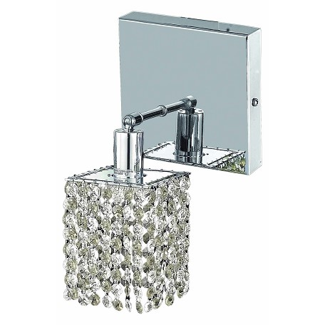 "Mini Collection 1-Light 6"" Chrome Wall Sconce with Clear  Swarovski Strass Crystal 1281W-S-S-CL/SS"