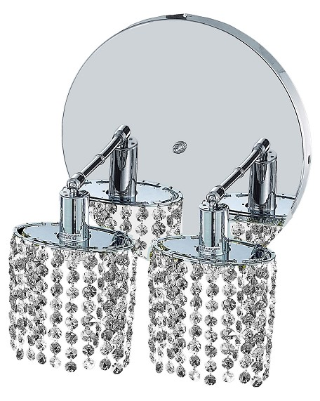 "Mini Collection 2-Light 9"" Chrome Wall Sconce with Clear Elegant Cut Crystal 1282W-R-E-CL/EC"