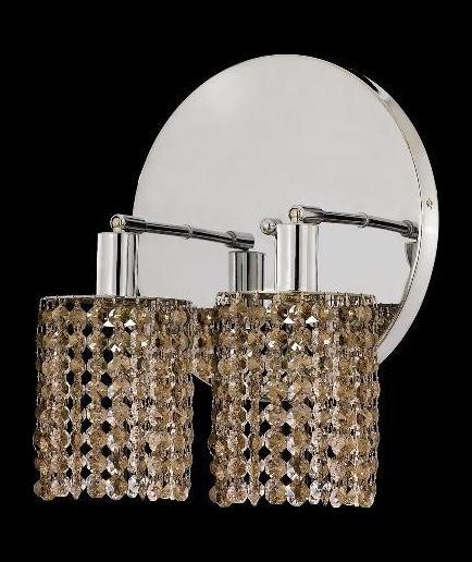 "Mini Collection 2-Light 9"" Chrome Wall Sconce with Golden Teak Smoky Swarovski Strass Crystal 1282W-R-R-GT/SS"
