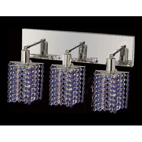 "Mini Collection 3-Light 14"" Chrome Wall Sconce with Sapphire Blue Swarovski Strass Crystal 1283W-O-P-SA/SS"