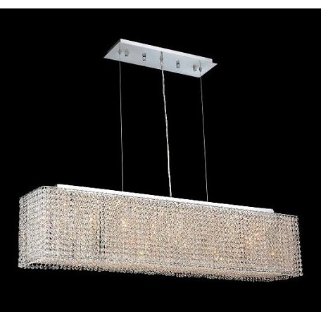 "Moda Collection 6-Light 9"" Chrome Island Light with Peridot Light Green Swarovski Strass Crystal 1291D46C-LP/SS"