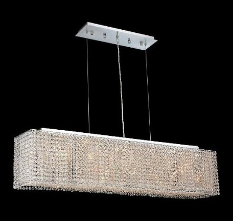"Moda Collection 6-Light 9"" Chrome Island Light with Light Topaz Yellow Swarovski Strass Crystal 1291D46C-LT/SS"