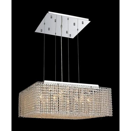 "Moda Collection 13-Light 26"" Chrome Pendant with Light Topaz Yellow Swarovski Strass Crystal 1294D26C-LT/SS"