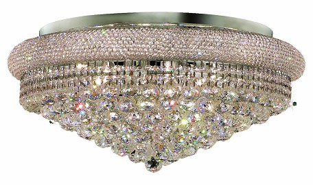 "Primo Collection 15-Light 28"" Chrome Flush Mount with Clear Elegant Cut Crystal 1800F28C/EC"