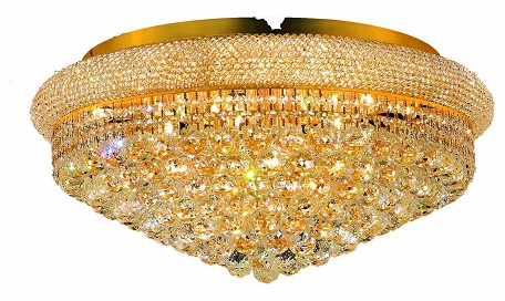 "Primo Collection 15-Light 28"" Gold Flush Mount with Clear  Swarovski Strass Crystal 1800F28G/SS"