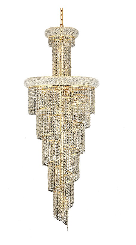 "Spiral Collection 22-Light 22"" Gold Chandelier with Clear  Swarovski Strass Crystal 1800SR22G/SS"