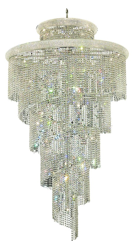 Elegant Cut Clear Crystal Spiral 41-Light, Four-Tier Crystal Chandelier, Finished in Chrome with Clear Crystals