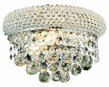"Primo Collection 2-Light 12"" Chrome Wall Sconce with Clear Swarovski Spectra Crystal 1800W12C/SA"
