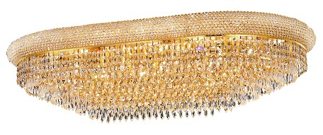 "Primo Collection 24-Light 24"" Gold Flush Mount with Clear Swarovski Spectra Crystal 1802F40SG/SA"